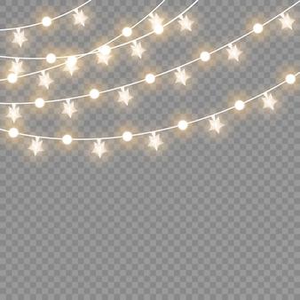 투명 한 배경에 고립 된 크리스마스 조명입니다. 크리스마스 빛나는 갈 랜드. 삽화.