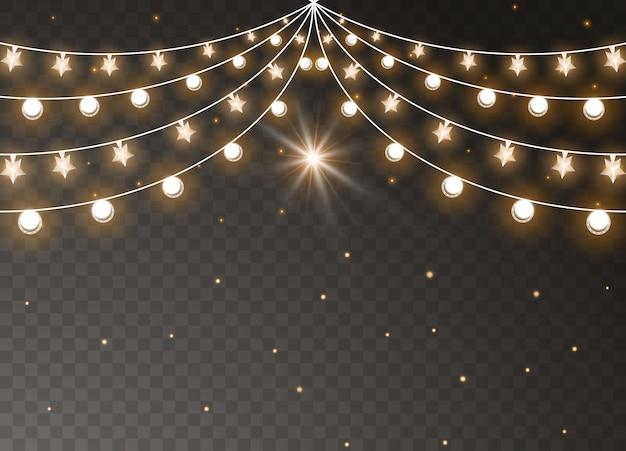 투명 한 배경에 고립 된 크리스마스 조명입니다. 크리스마스 빛나는 갈 랜드. 삽화. 프리미엄 벡터