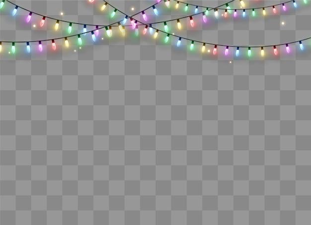 透明な背景に分離されたクリスマスライト。クリスマスの輝くガーランド。