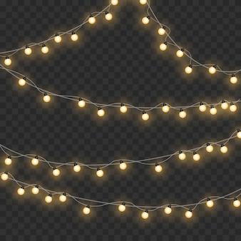 Рождественские огни, изолированные на прозрачном фоне. рождественские светящиеся гирлянды.