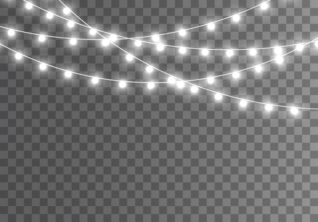 透明な背景に分離されたクリスマスライト