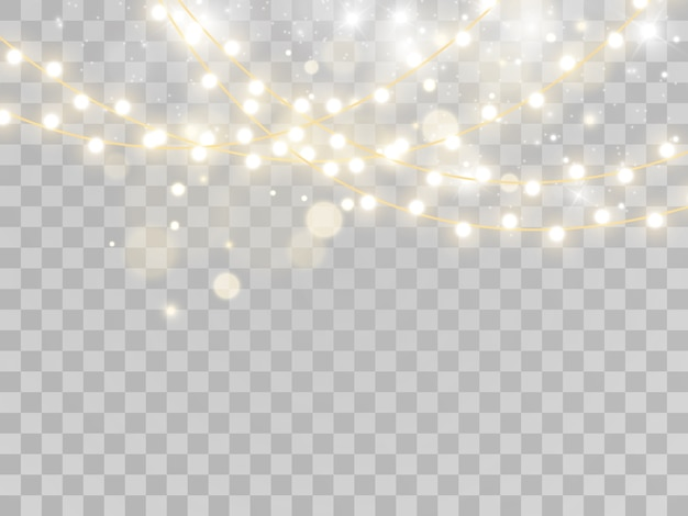 Рождественские огни, изолированные на прозрачном фоне.