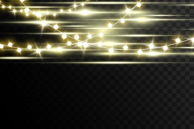 Рождественские огни, изолированные на прозрачном фоне. .