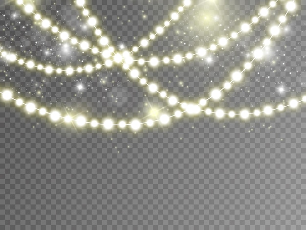 Рождественские огни, изолированные на прозрачном фоне