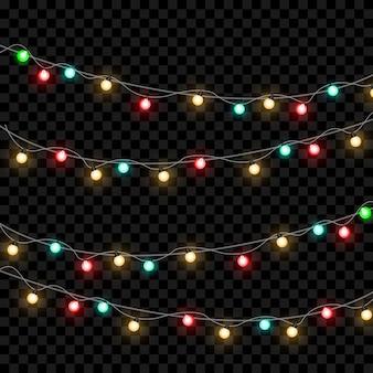透明な背景に分離されたクリスマスライト。