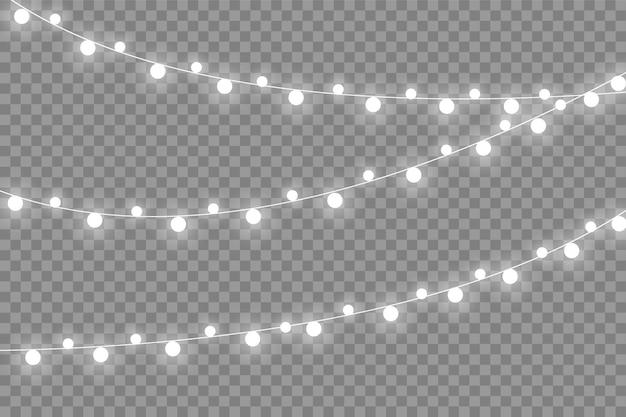 透明な背景に分離されたクリスマスライト。 。