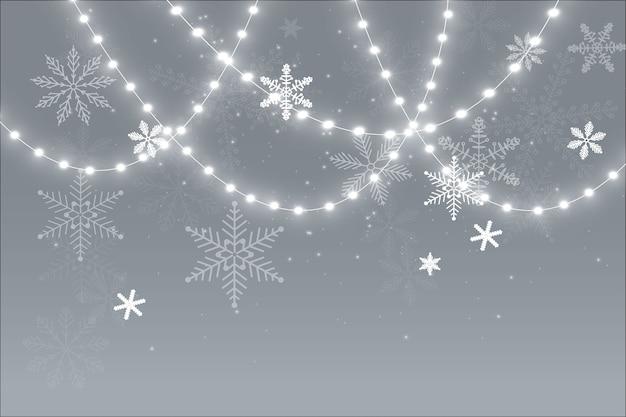 투명 한 배경에 고립 된 크리스마스 조명입니다.