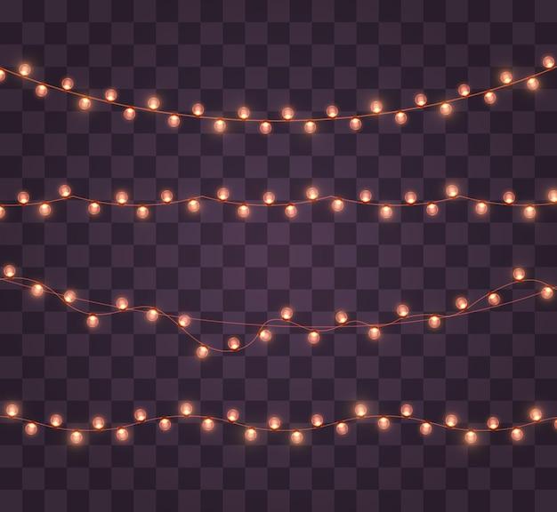 투명 한 배경에 고립 된 크리스마스 불빛