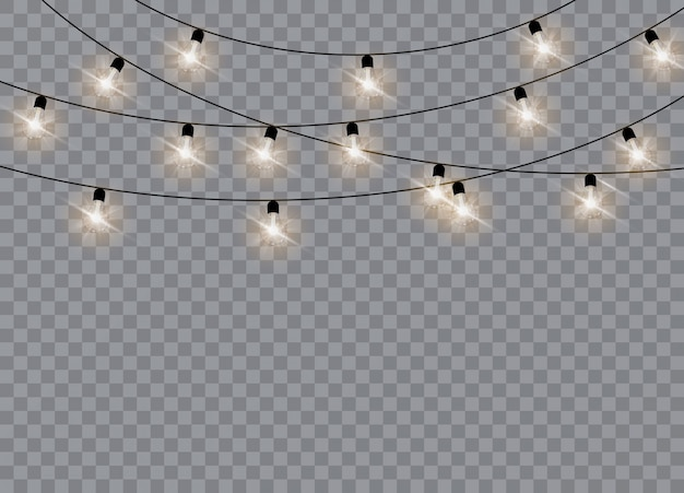 Christmas lights isolated realistic design elements.  garlands decorations.   illustration.