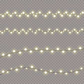 Christmas lights isolated realistic design elements. garlands decorations set