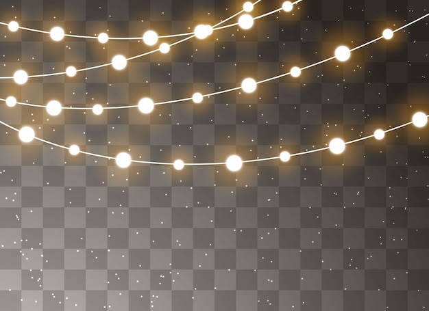 Christmas lights isolated realistic design elements. garlands decorations.