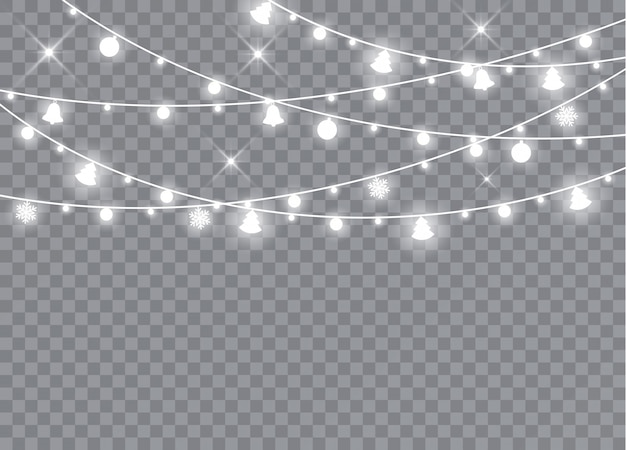 Christmas lights isolated realistic design elements. glowing lights garlands decorations.   illustration.