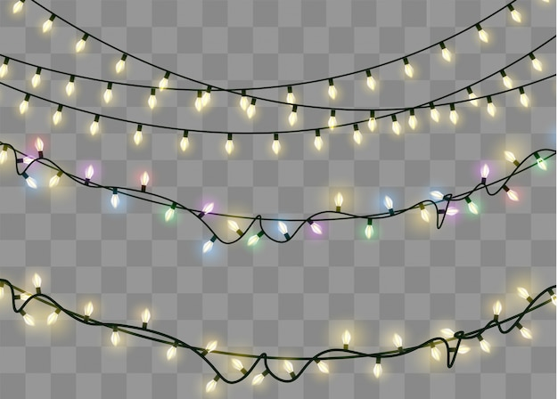 Christmas lights isolated realistic design elements. glowing lights for xmas holiday.led neon lamp