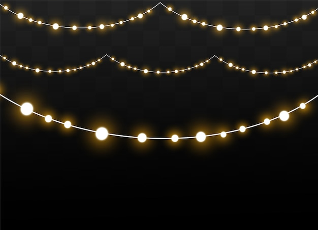 Рождественские огни изолированные реалистка (ст) дизайн элементы