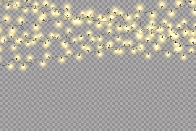 Christmas lights isolated, realistic garland
