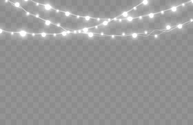 Christmas lights isolated on transparent background bright xmas garland vector glow light bulbs on wire strings