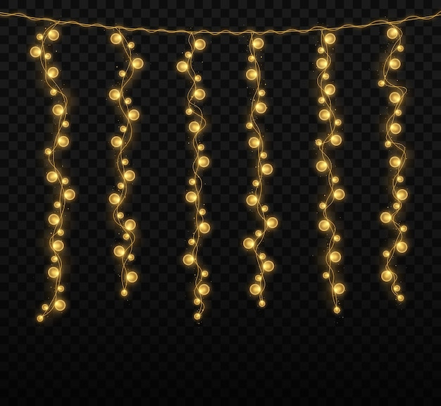 Christmas lights isolated on transparent background for cards banners posters