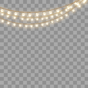 Christmas lights, isolated on a transparent background. christmas glowing garland.