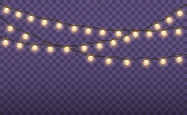 Christmas lights isolated on transparent background christmas glowing garland