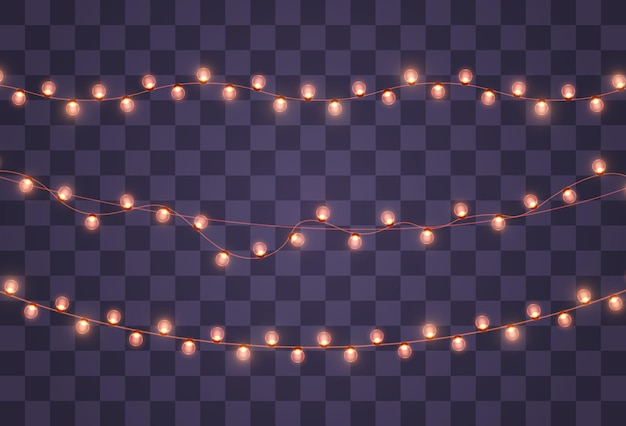 Christmas lights isolated on transparent background. christmas glowing garland.