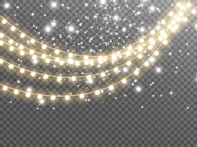 Christmas lights isolated on transparent background. illustration.