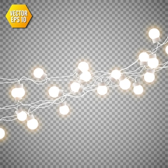 Christmas lights isolated on transparent background. set of xmas glowing garland.