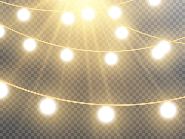 Christmas lights isolated on transparent background vector illustration