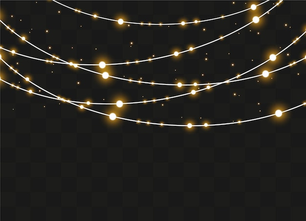 Christmas lights isolated on transparent background. xmas glowing garland.  illustration