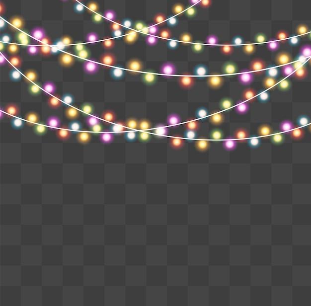Christmas lights isolated on transparent background. xmas glowing garland.  illustration
