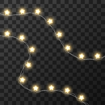 Christmas lights isolated on transparent background