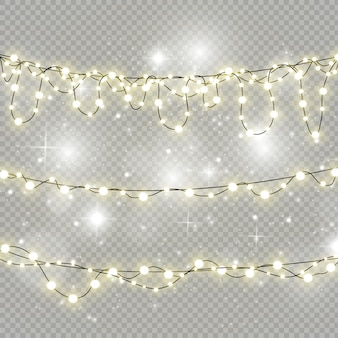 Christmas lights isolated on transparent background..