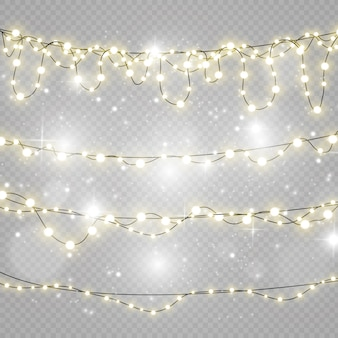 Christmas lights isolated on transparent background.