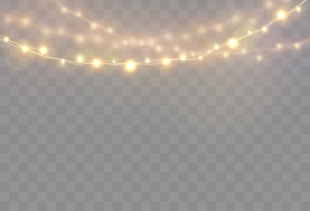 Christmas lights isolated on transparent bright garland glow light bulbs on wire strings
