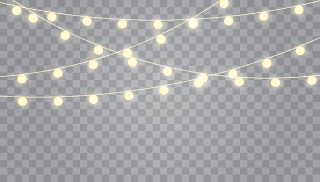 Christmas lights isolated on transparent . set of garlands, festive decorations.