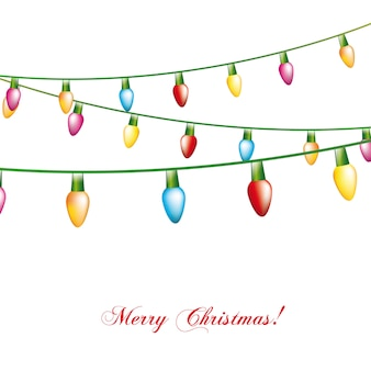 Christmas lights isolated over white background vector illustration