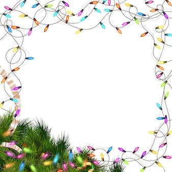 Christmas lights isolated on white background.