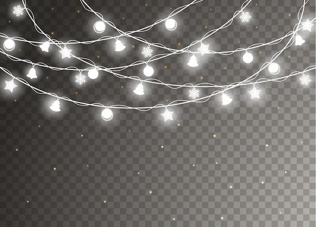 Christmas lights isolated  . xmas glowing garland.   illustration.