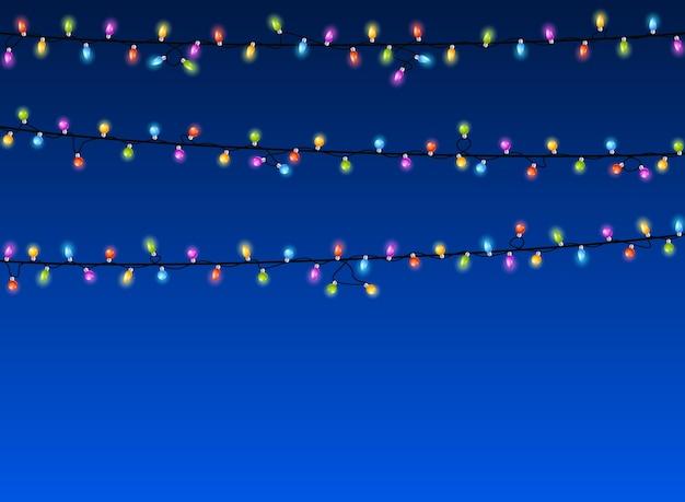 파란색 배경에 크리스마스 불빛