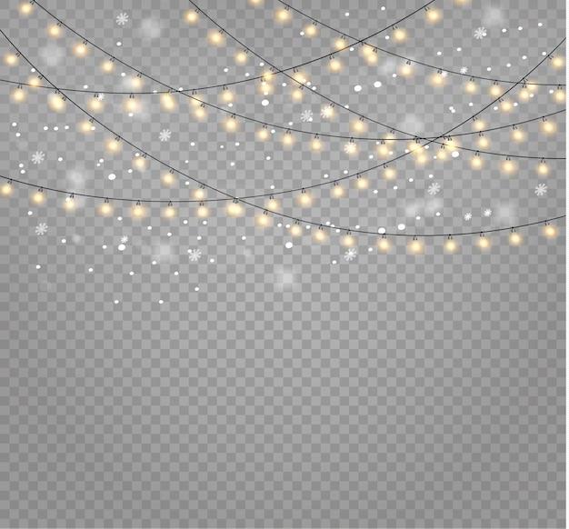 透明な背景にクリスマスライト