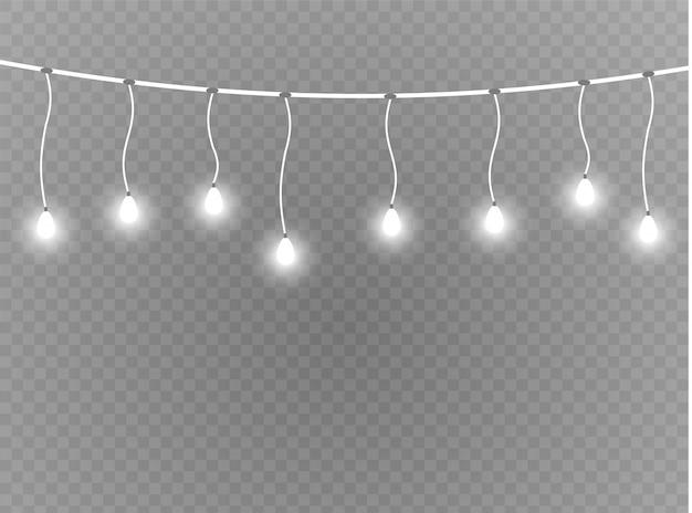 クリスマスライトは現実的な要素です。クリスマスホリデーカード、バナー、ポスター、webデザインの白熱灯。花輪の装飾。 ledネオンランプ