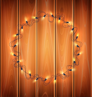 Christmas lights, realistic garland on  wood background