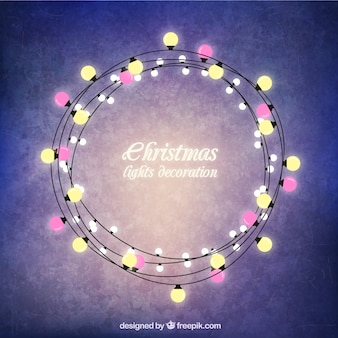 Christmas lights round frame