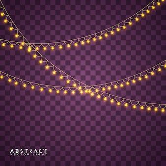 Christmas lights set, glowing lights for holiday