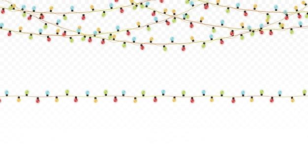 クリスマスのあかり 。装飾的な輝く花輪のセット。クリスマスのデザイン要素。