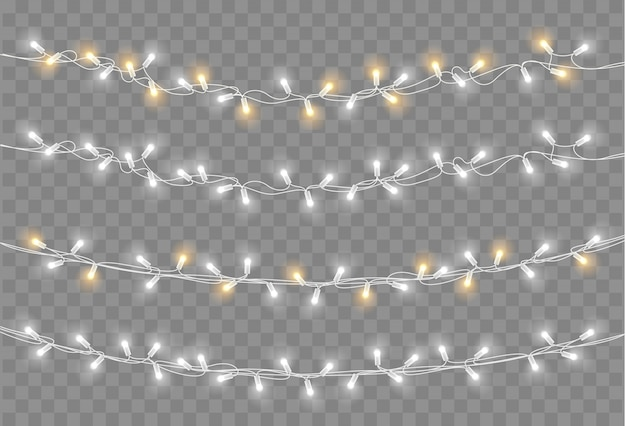 Christmas lights set. vector new year decorate garland with glowing light bulbs.