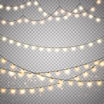 Christmas lights set. vector new year decorate garland with glowing light bulbs