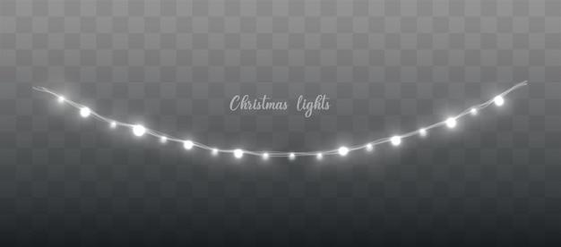 크리스마스 조명 세트 벡터 새해는 빛나는 전구로 화환을 장식합니다