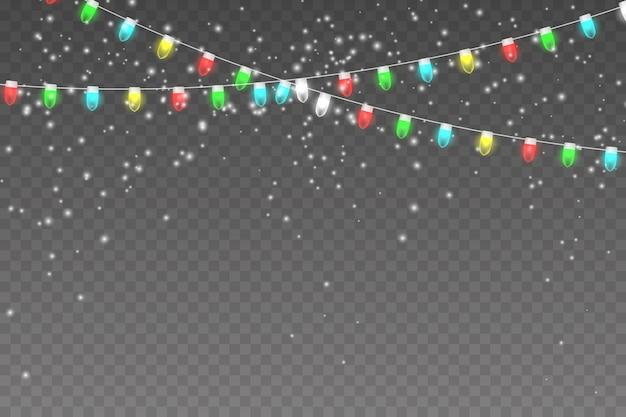 クリスマスライト、明るい花輪、雪、雪片と雪の背景