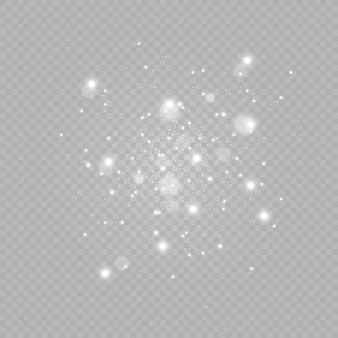 Christmas lights or stardust isolated on transparent background.