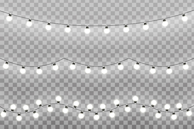 Christmas lights  on transparent background. glowing lights for xmas holiday greeting card . garlands, christmas decorations.  illustration eps10